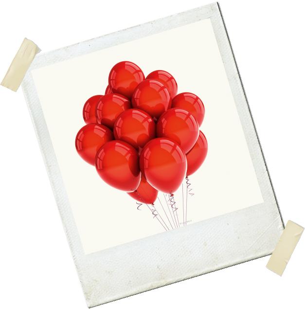atelier polaroid de ballons rouges d'anniversaire